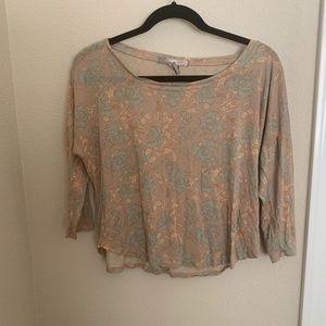 Pastel on nude floral blouse
